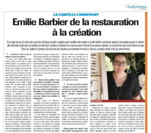L'indépendant de l'Yonne - Emilie Barbier de la restauration à la création