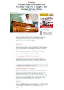 L'yonne républicaine - Une Ebéniste restauratrice de Sormery remporte le trophée des métiers d'art de l'Yonne